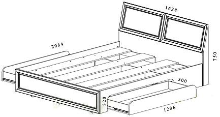 Двуспальная кровать чертежи и размеры схемы